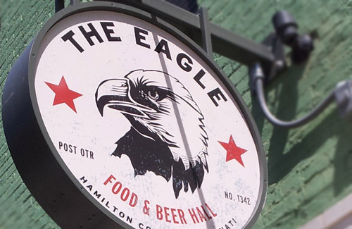 The sign outside of The Eagle